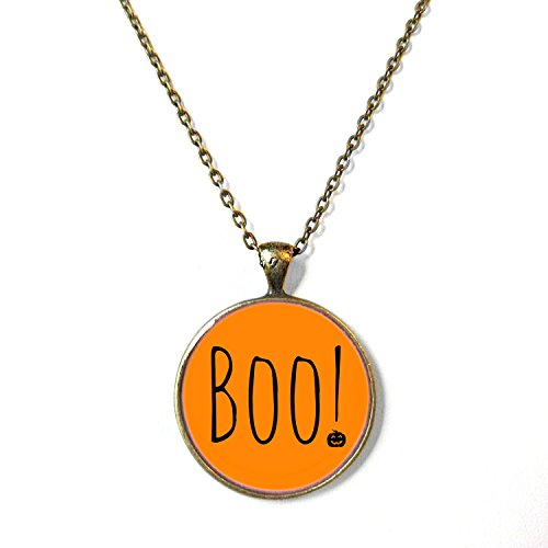 Boo! with Jack O Lantern Halloween Necklace, 18