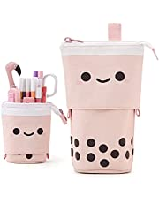 ANGOOBABY Cute Pencil Case Standing Pen Holder Telescopic Cosmetics Pouch Pop Up Stationery case Makeup Bag Office Organizer Box for Girls Students Women Adults