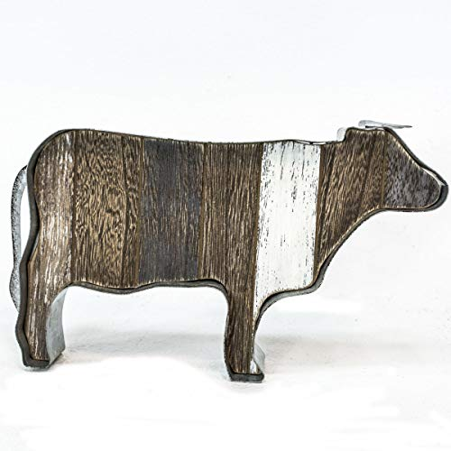 OBI Farm Animal Wood Metal Table Top Statue Figurine - Rustic Farmhouse Country Home Decor ... (Cow)