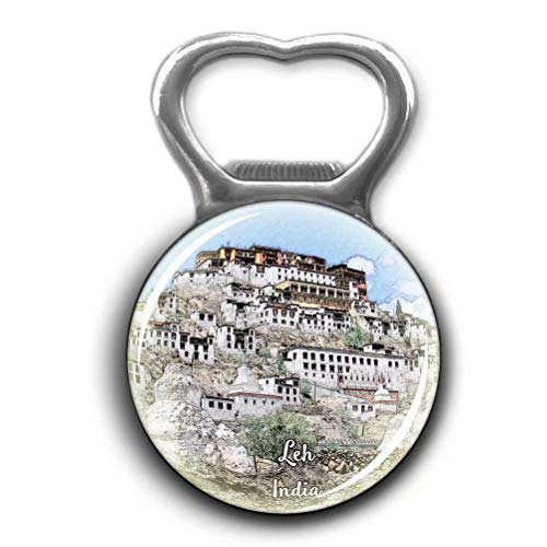 (Thiksey Monastery Leh India Opener Metal Fridge Magnet Crystal Glass Round Beer Bottle Opener City Souvenir Home Kitchen Decoration Gifts)
