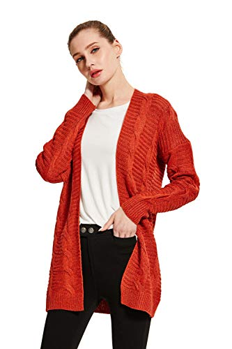 (SheSublime Original Women's Cardigan Long Sleeve Cable Knit Sweater (Medium, Red))