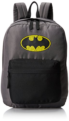 Batman Men's Front Pocket Backpack with Distressed Screen Print, Grey ()
