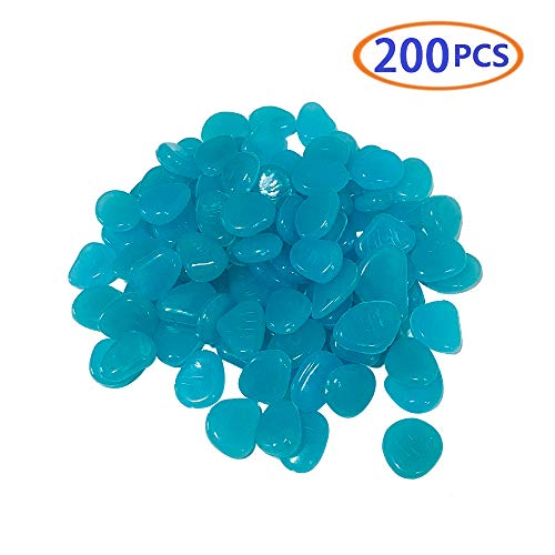 BLSMU Glowing Rocks,Pebbles Rubber Mulch The Normal Heart Eden Glow Stones Decorations Outdoor 200pcs Blue Garden Pebbles Rocks for Outdoor Walkway Garden Path Driveway Aquarium and Fish -