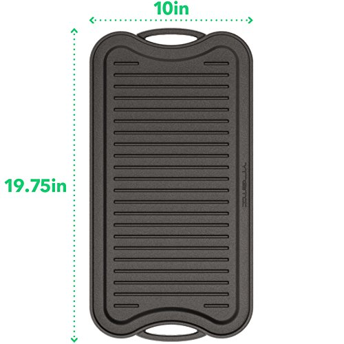 Vremi 20 inch Cast Iron Griddle for Kitchen Stove Top - Large Nonstick Two Burner Flat Universal Pancake Grill Griddle Pan Pre-seasoned Reversible Portable for Indoor Oven Gas Stovetop or Outdoor BBQ
