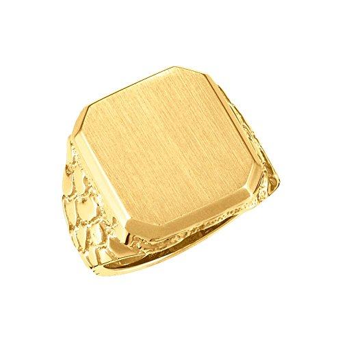 18k Yellow Gold 18x16mm Men's Nugget Signet Ring