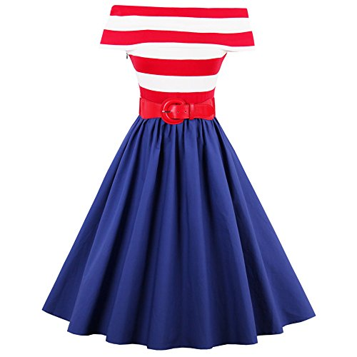 ZAFUL Women 1950s Vintage Off Shoulder Halter Striped Rockabilly Swing Evening Party Dress with Belt