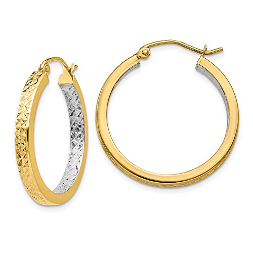 14k Yellow Gold Square Hoop Earrings Ear Hoops Set Round Tube Fine Jewelry Gifts For Women For Her ()