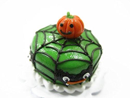 Dollhouse Miniature Halloween Cake 2 cm Spider Web Pumpkin Seasonal 13971 -