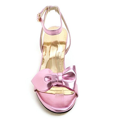 Women Pink TAOFFEN sandals Casual with Summer Wedding Kitten Bowtie Heel Shoes vUAdqBA