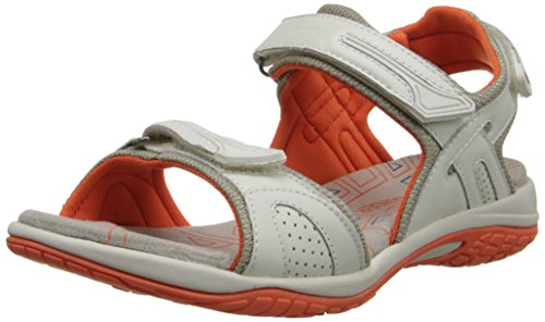 (ALLROUNDER by MEPHISTO Women's Elba Gladiator Sandal, White Smooth/Cool Grey Mesh, 7 M US)