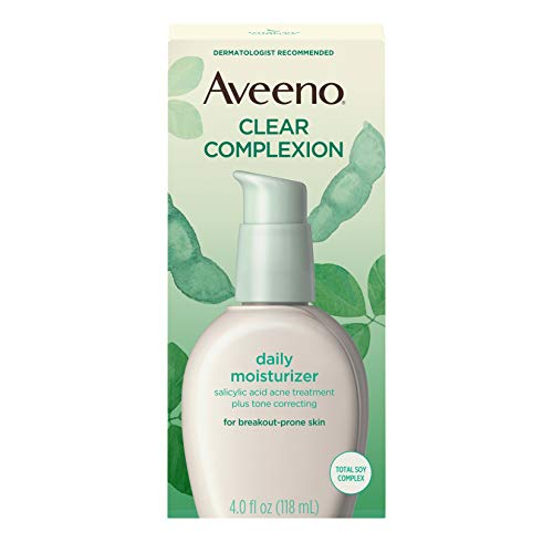 Aveeno Clear Complexion Salicylic Acid Acne-Fighting Daily Face Moisturizer with Total Soy Complex, For Breakout-Prone Skin, Oil-Free and Hypoallergenic, 4 fl. oz (Best Drugstore Tinted Moisturizer For Oily Skin)