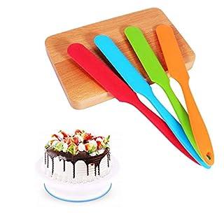 Yosoo Silicone Spatula Set -450°F Heat-Resistant Non Stick Cake Cream Butter Spatulas Mixing Batter Scraper Brush Silicone Baking Spoon Cook Tool Multicolor 4-Piece