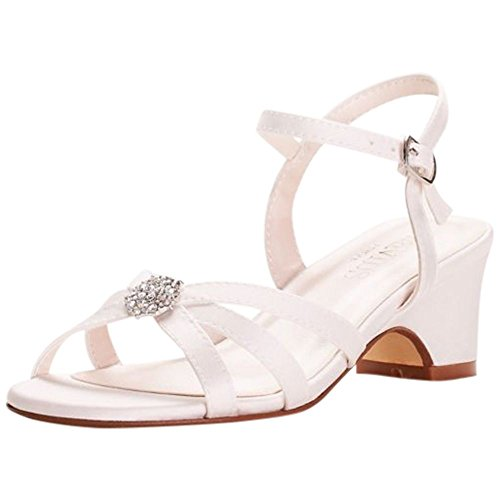 David's Bridal Girls Strappy Satin Sandals with Rhinestones Style Addie, Off White, 2Y