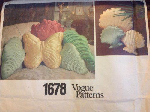 Vogue 1678 70's Sewing Pattern for Stunning Pillows with Quilted Fronts Featuring Shells, Butterfly, Leaf & Rose Shapes (Quilted Pillow Shells)