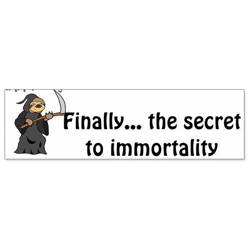 Car Bumper Sticker - Humorous Sloth Grim Reaper Immortality -