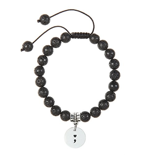 Meibai Handcrafted 8MM Natural Stone Beads Bracelet with Stainless Steel Charm Inspirational Jewelry (Semicolon)
