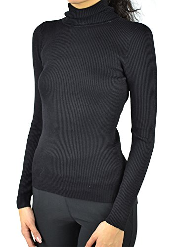 Long Sleeve Rib Turtle-Neck Plain Soft Knit Sweater Top (M, Black) (Rib Turtleneck)