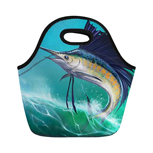 Semtomn Neoprene Lunch Tote Bag Blue Marlin Sailfish of Waves in Jump Jumping Swordfish Reusable Cooler Bags Insulated Thermal Picnic Handbag for Travel,School,Outdoors, Work ()