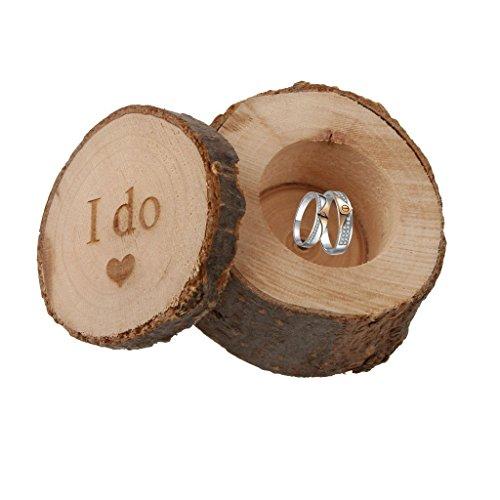 SECOWEL Holz Ringkissen Schmuckschachtel Ringetuis Ringbox Ringschachtel Verpackung für Hochzeit Ringe (I DO)