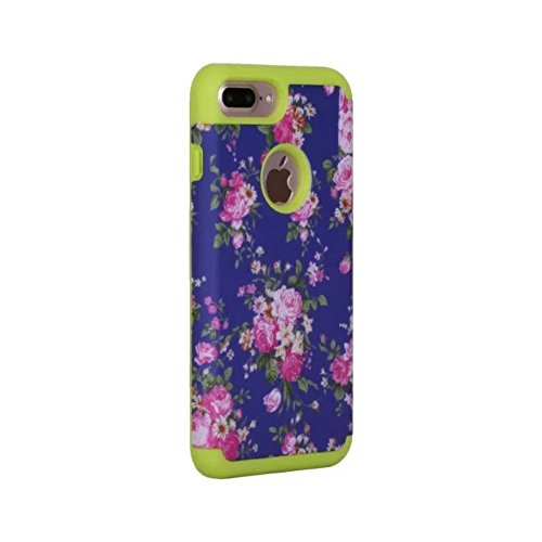 Blooming Flowers Pattern Rubberized PC + TPU Phone Tasche Hüllen Schutzhülle - Case für iPhone 7 Plus 5.5 inch - Grün