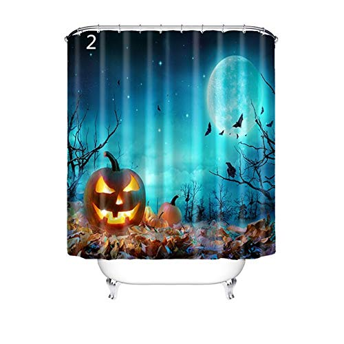 AMDXD Shower Curtains Polyester Bath Curtain Halloween Style 2 Halloween Style Showercurtain 120X180CM -
