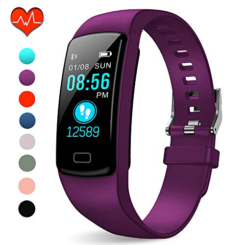 Polywell Fitness Tracker, Aktivitätstracker mit Herzfrequenz-Monitor und Schlaf-Monitor, Bluetooth, wasserdicht, Schrittzähler und Kalorienzähler