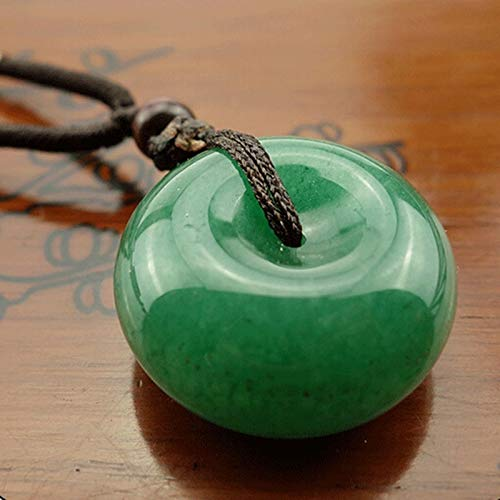 (moahhally 2019 Chinese Natural Green Jade Hand-Carved Harmony Lucky Pendant)