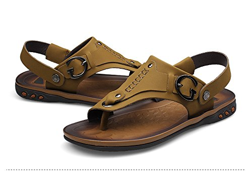 Khaki Flops With Strap Toe Moveable H Open Flip Ankle amp;W Leather Sandals Mens xAf7qwO