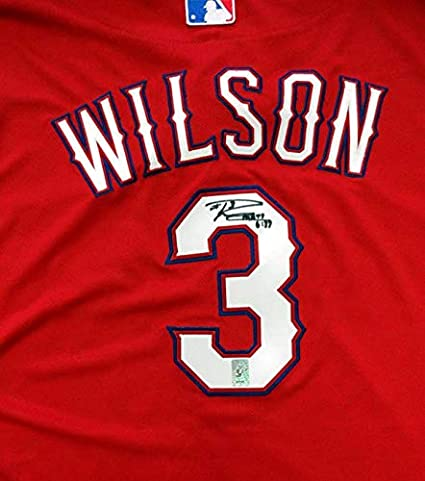 watch 388d2 87ee2 Signed Russell Wilson Jersey - Texas Rangers Red Majestic ...
