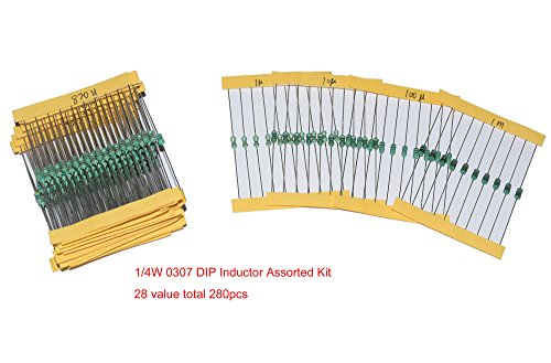 Cofufu 0307 DIP Inductor Assorted Kit 22 value total 220pcs 1uH to 1mH 0.25W ()