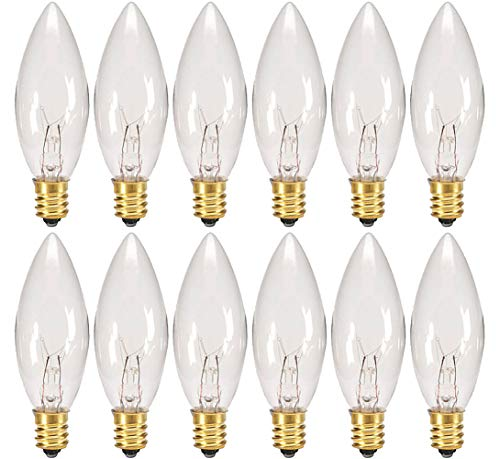 (Creative Hobbies® Replacement Light Bulbs for Electric Candle Lamps & Chandeliers - 7 Watt, Clear, Steady Burning - Pack of 12)