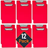 Plastic Clipboards (Set of 12) Multi Pack Clipboard (Red) Strong 12.5 x 9 Inch | Holds 100 Sheets! Acrylic Clipboards with Low Profile Clip | Cute Clip Boards Board Clips