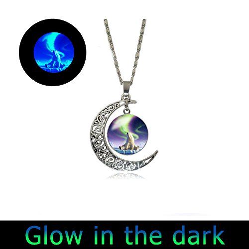 (Glowing Necklace Full Moon Necklace Polar Bear Charm Necklace Pendant)
