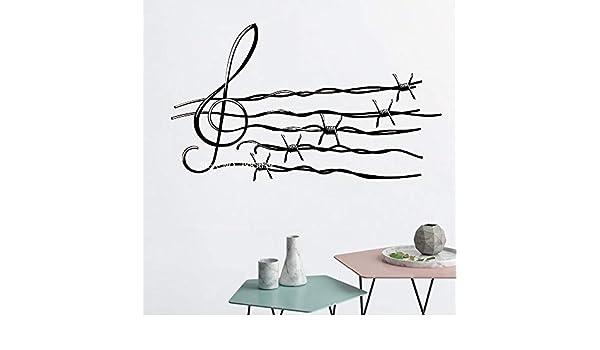 Alambre de púas Notas Musicales Etiqueta de Vinilo de Pared Arte ...