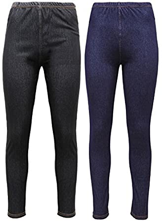 New Ladies Pack OF 2 Womens Ladies Denim Look Skinny Slim Stretchy Jeggings Leggings with Elasticated Waist and 2 Back Pockets in Plus Size UK 8-26