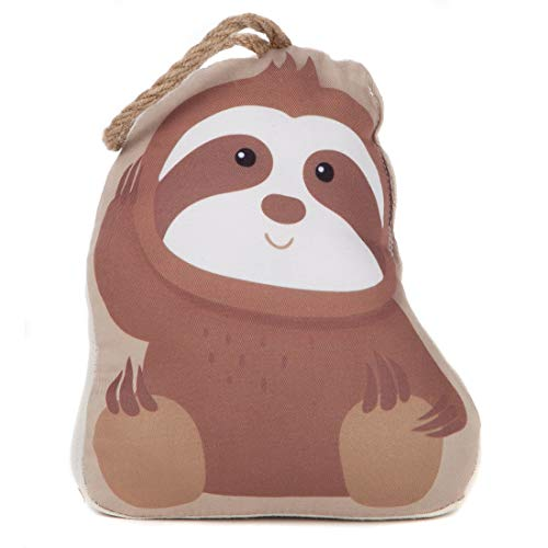 Lily's Home Cute Decorative Sloth Weighted Interior Door Stopper, Compact Fabric Design and Hanging Loop Attached