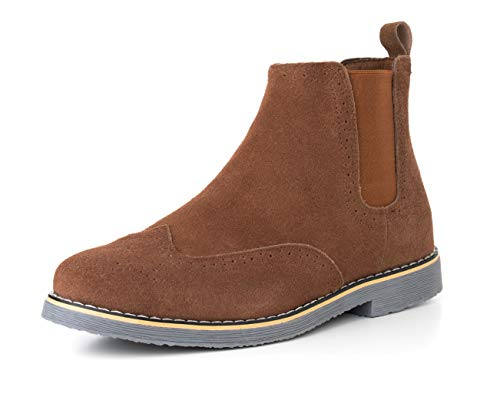 alpine swiss Mens Chelsea Boots Genuine Suede Dress Ankle Boots Wingtip Shoes Chestnut 12 M US