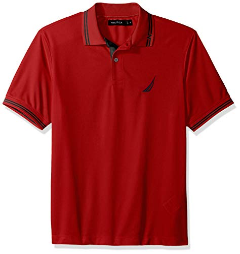 Nautica Men's Performance Wicking and Stain Resistant Solid Polo Shirt, red, X-Large