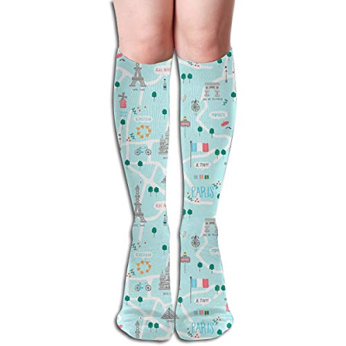 Bandnae 19.68 Inch Compression Socks Eiffel Tower Stella High Boots Stockings Long Hose for Yoga Walking for Women Man