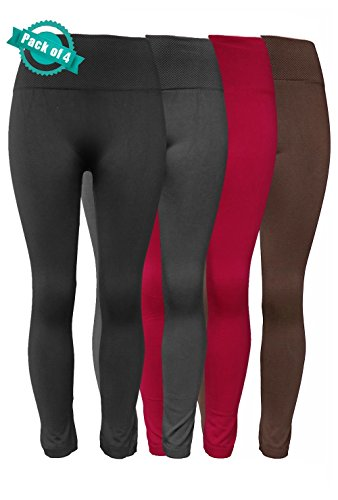 Sipaya Fleece Lined Leggings High Waisted Tights Ankle Length 4 Pack Mixed