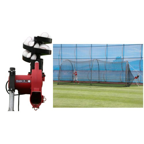 Heater Sports Jr Real Ball Pitching Machine & Xtender 24' Cage BSC599 (Xtender Home Batting 24 Cage)