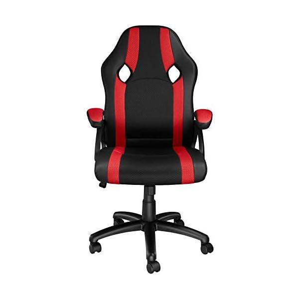 TecTake Chaise de Bureau Fauteuil siège Racing Sport Tissu – diverses Couleurs au Choix – (Noir-Rouge | No. 403490)