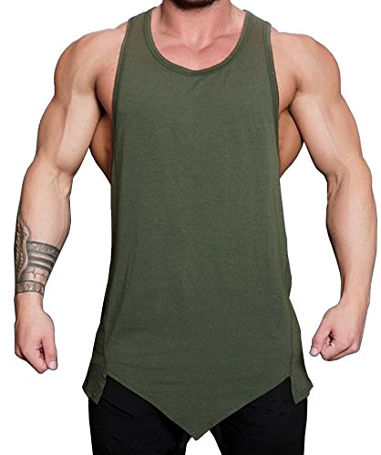 COOFANDY Mens Gym Tank Tops Workout Muscle Tee Training Bodybuilding Fitness T Shirts,Green,Large