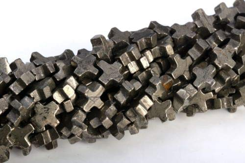 8x8MM Copper Pyrite Cross Grade AAA Natural Gemstone Loose Beads 15.5'',
