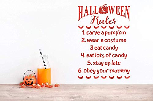 Profit Decal for Bedroom Halloween Rules for Kids Children Carve Pumpkin Wear Costume Eat Candy Stay Up Late Obey Your Mummy Kitchen Wall Decals Decor Vinyl Sticker Q4612 -
