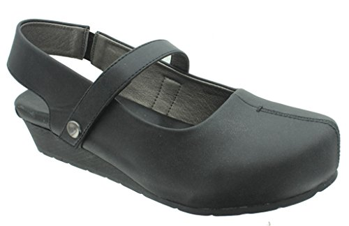 Back Strap Clog - Pierre Dumas Women's Lexy-1 Vegan Leather Mary Jane Slingback Strap Wedge Clogs,Black,8.5