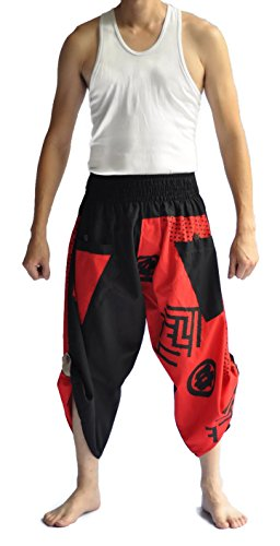 Siam Trendy Men's Japanese Style Pants One Size Black Japanese design (black and red) Review