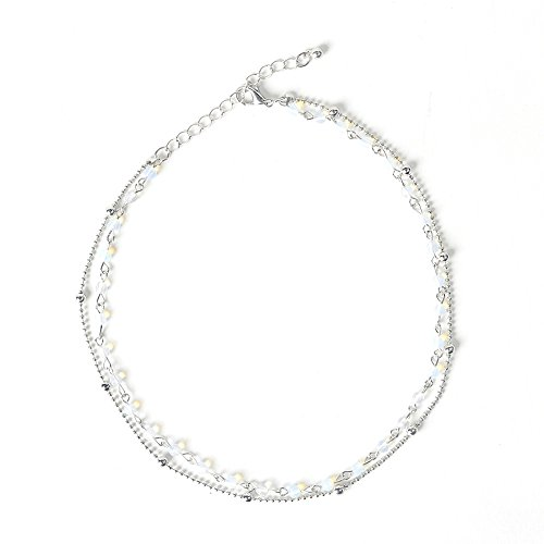 Dolovely Dainty Layered Opal Beaded Choker Necklace 14k Silver Plated Collar Chain for Women Girls