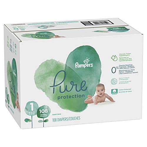 Diapers Newborn/Size 1 (8-14 lb), 108 Count - Pampers Pure Disposable Baby Diapers, Hypoallergenic and Unscented Protection, Giant Pack