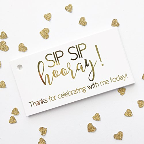 Wine Party Invitation Wording (Gold Foil Party Favor Tags, Sip Sip Hooray for Birthday, Wedding, Graduation, any Occassion (RT-382-Me))